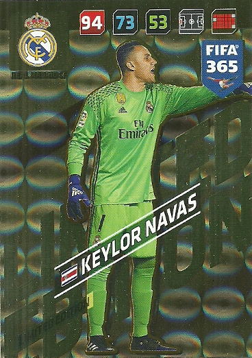 Panini Fifa 365 2019 ADRENALYN XL Keylor Navas Real Madrid equipo Mate No.70