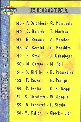 BARONIO//MERCIER REGGINA CARDS CALCIATORI 2000 MUNDICROMO N 147